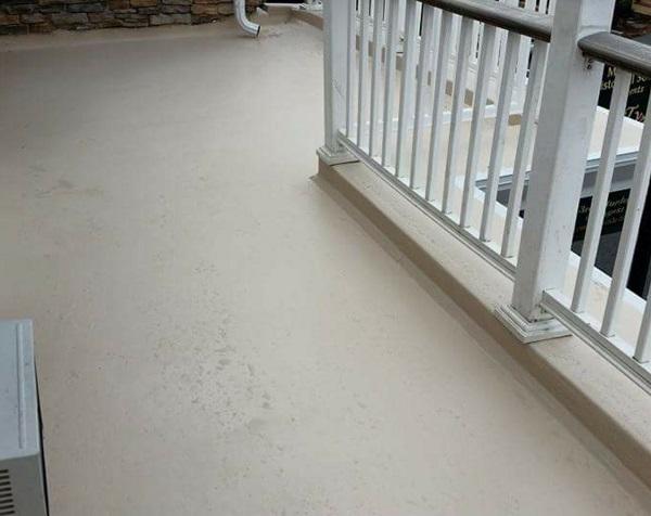 Custom fiberglass resin with gel coat and railing flat roof deck custom installation